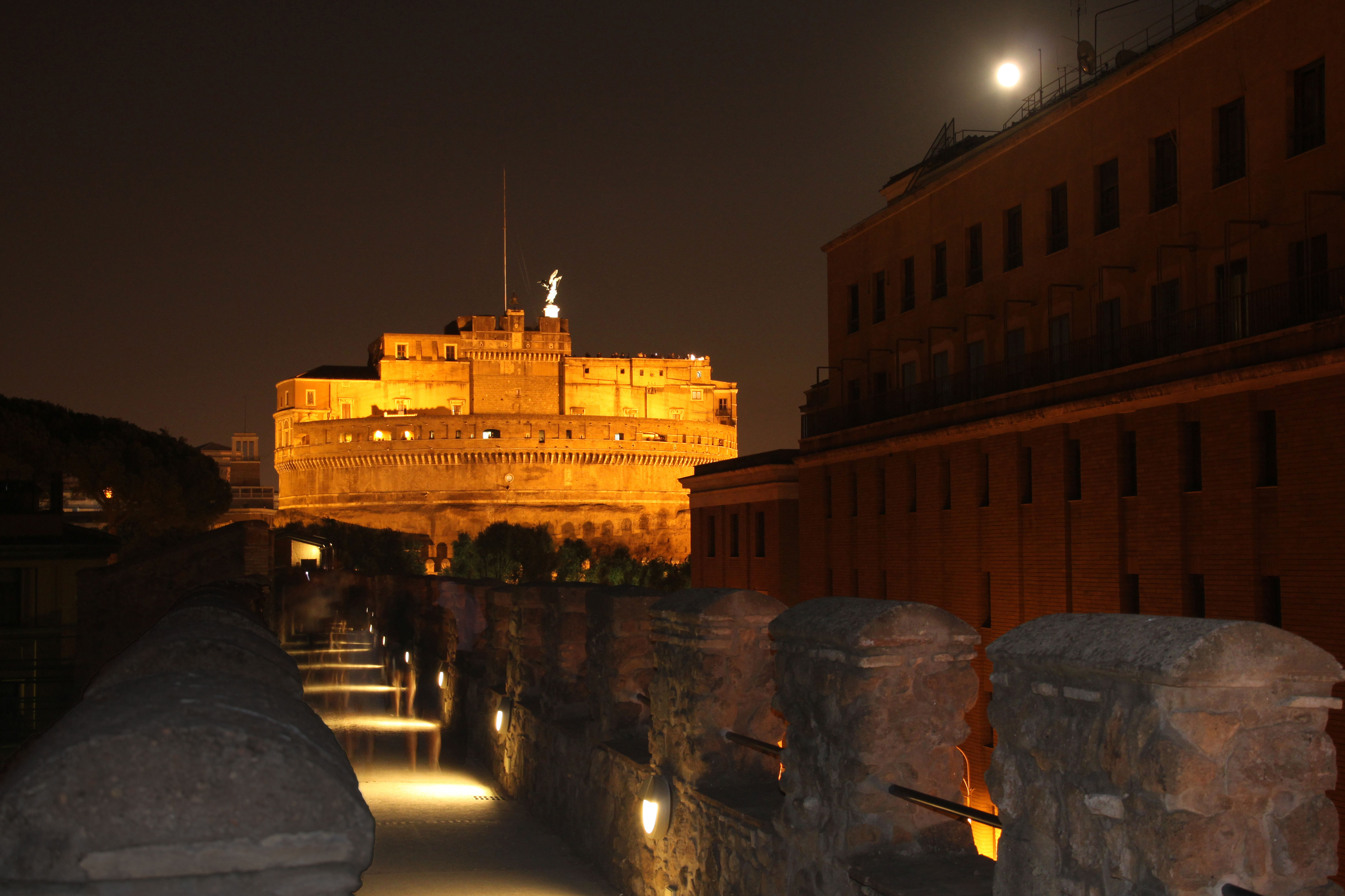 Rome - Passetto di Borgo and Castel Sant'Angelo by night 0990