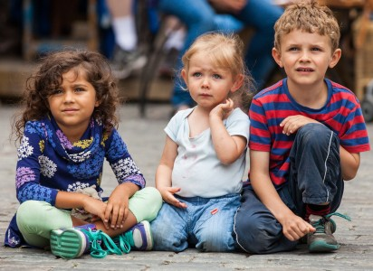 three kids in Stockholm city, Sweden, June 2014, picture 52