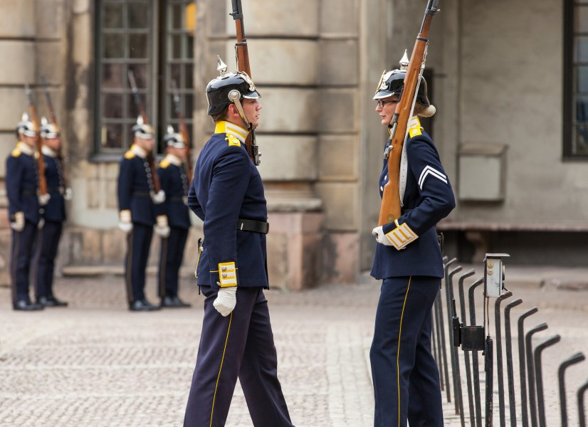 the royal palace guards in Stockholm city, Sweden, June 2014, picture 55