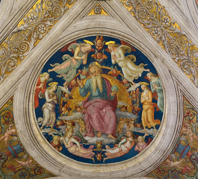 God the Father and angels, Pietro Perugino, Stanza dell'Incendio di Borgo, medalion, part of the ceiling, Vatican City 1