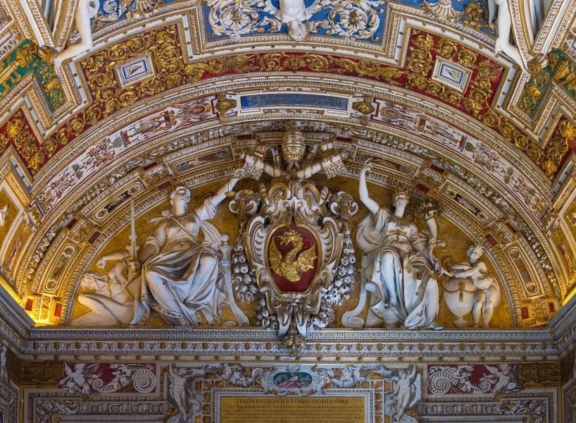 Relief of CoA of Pope Gregorius XIII, Gallery of the geographic maps, part of the ceiling, Vatican City 2