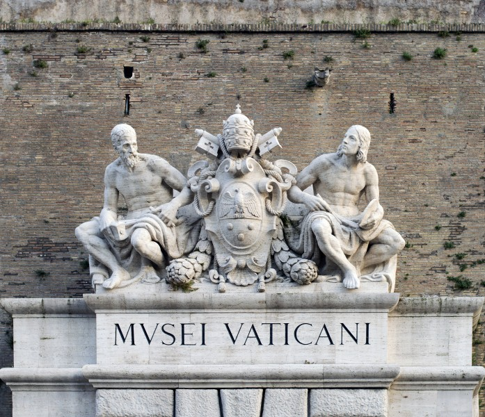 Sculptures above the entrance of Vatican Museums