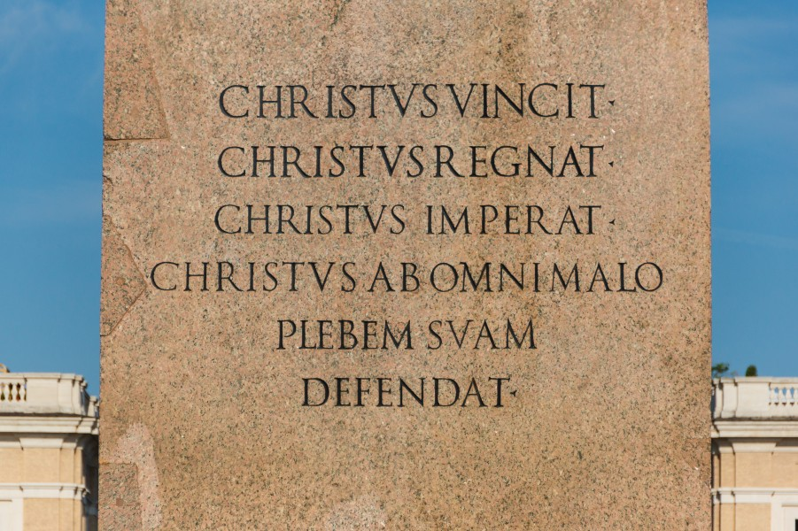 Text pedestal obelisk, Saint Peter's square, Vatican City