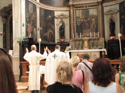 People in a Catholic Church in Venice, Italy, European Union, August 2011, picture 15
