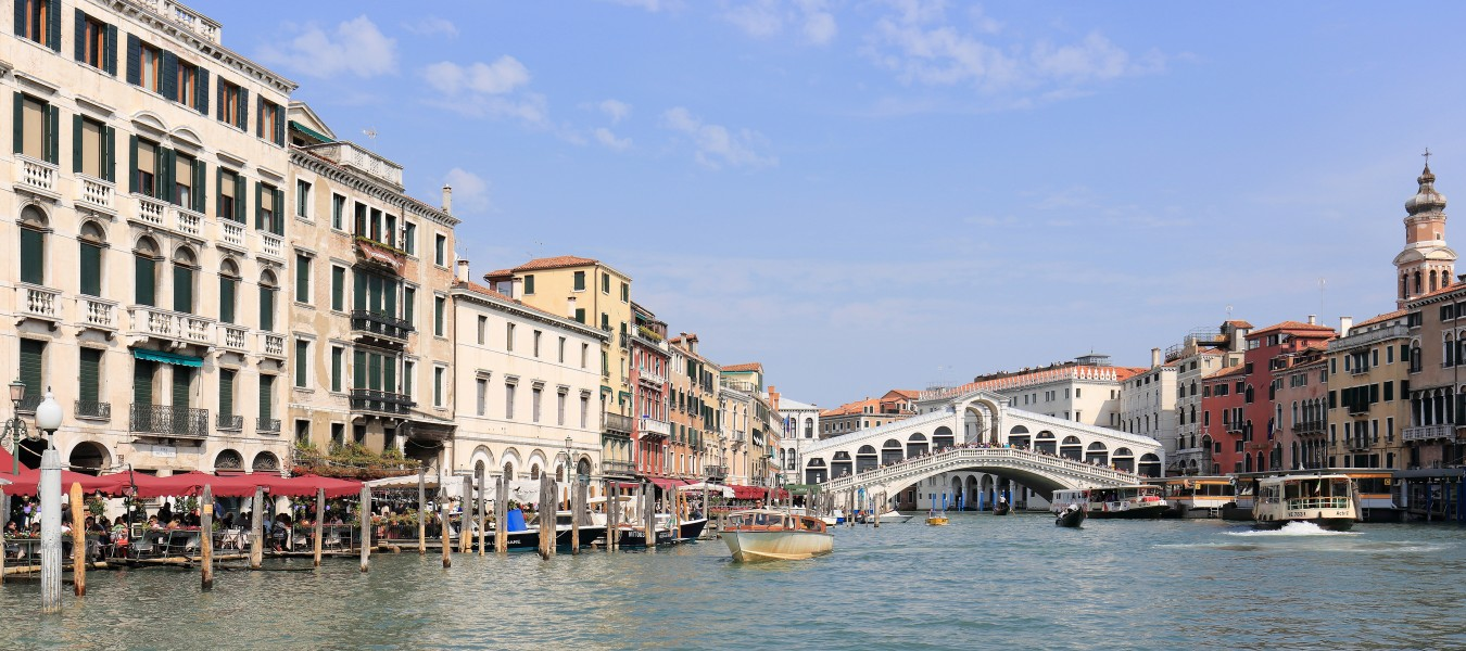 Panorama of Canal Grande and Ponte di Rialto, Venice - September 2017