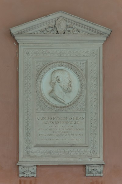 Carl Braun von Fernwald (1823-1891), Nr. 114, plaque and basrelief (marble) in the Arkadenhof of the University of Vienna-2712-HDR