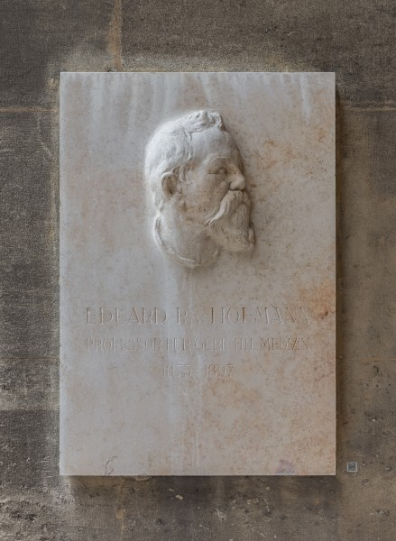 Eduard von Hofmann (1837-1897), forensic doctor, basrelief (marble) in the Arkadenhof of the University of Vienna 3805-HDR