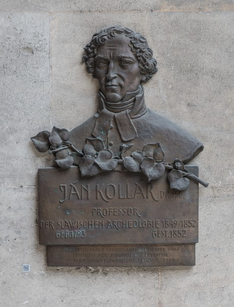 Ján Kollár (1793-1852), archeologist, Nr. 122, basrelief (Bronze) in the Arkadenhof of the University of Vienna-3800-HDR