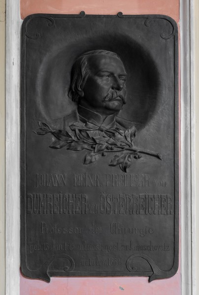 Johann Heinrich Dumreicher (1815-1880), Nr. 88 basrelief (bronze) in the Arkadenhof of the University of Vienna 1999