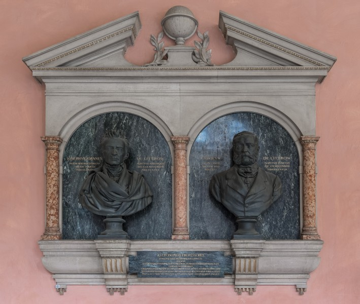Karl and Johannes von Littrow, Nr 96 bust ensemble (bronze) in the Arkadenhof of the University of Vienna-2379-HDR