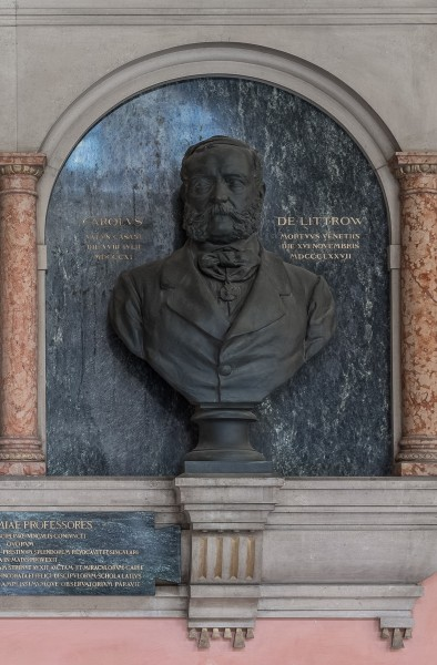 Karl von Littrow (1811-1877), Nr 96 bust (bronze) in the Arkadenhof of the University of Vienna-2380-HDR