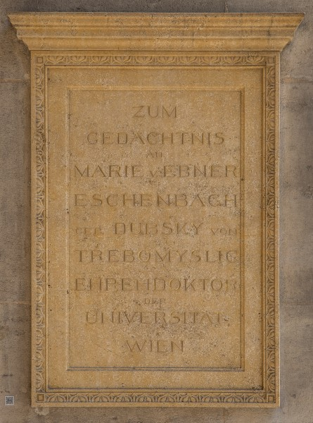 Marie von Ebner-Eschenbach (1830-1916), Writer, Nr. 133, commemorative plaque (marble) in the Arkadenhof of the University of Vienna-3191-HDR