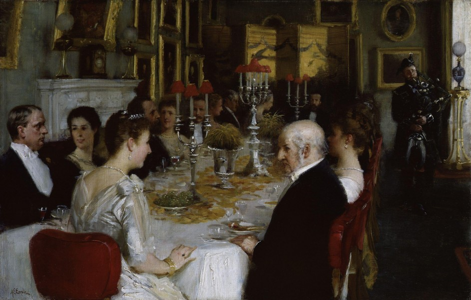 Dinner at Haddo House, 1884 by Alfred Edward Emslie