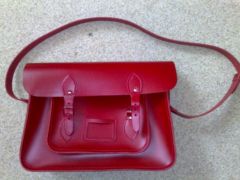 Red satchel by Cambridge Satchel Company