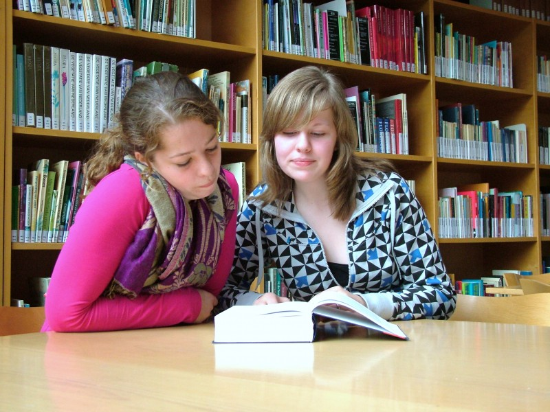 Girls reading a book in a library