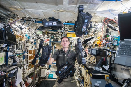ISS-50 Thomas Pesquet with video cameras in the Destiny lab