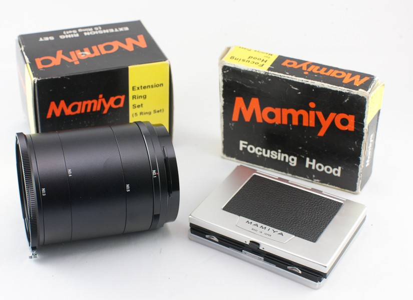 0585 Mamiya Universal Super 23 Extension ring set and Focussing Screen (9124342654)