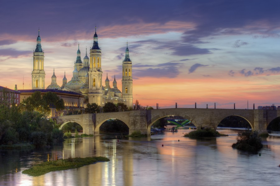 Basilica of Our Lady of the Pillar and the Ebro River, Zaragoza
