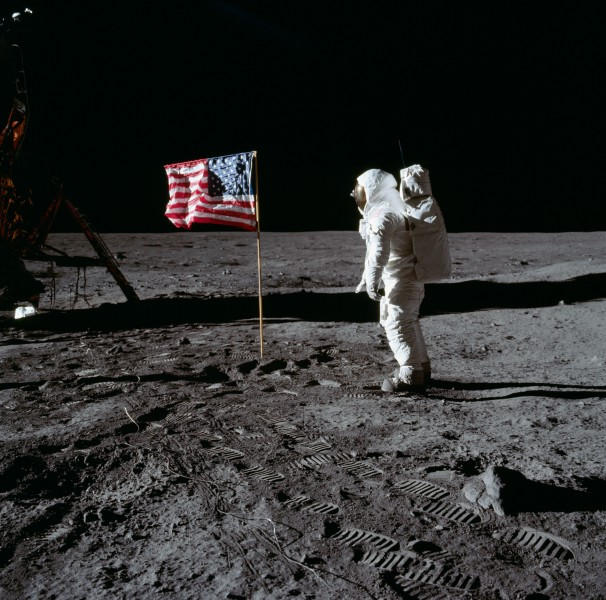 Buzz Aldrin and the U.S. flag on the Moon - GPN-2001-000012
