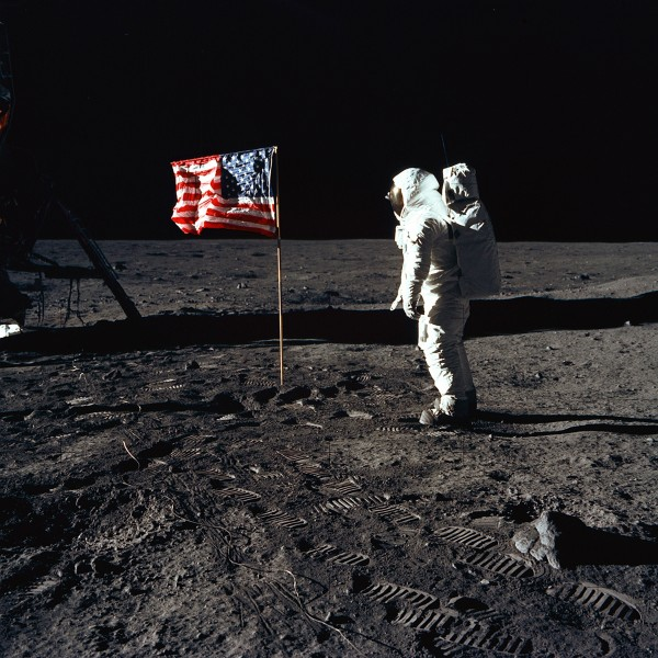 Buzz Aldrin and the U.S. Flag on the Moon (9460188482)