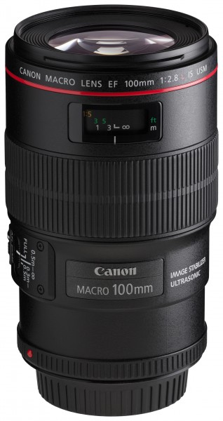 Canon EF 100mm f2.8L Macro IS USM front angled