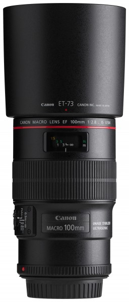 Canon EF 100mm f2.8L Macro IS USM front horizontal with hood