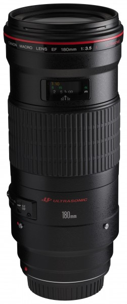 Canon EF 180mm f3.5L Macro USM front angled