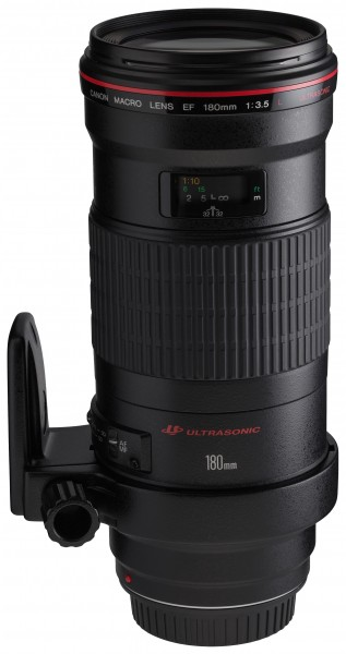 Canon EF 180mm f3.5L Macro USM front angled with tripod ring rotated