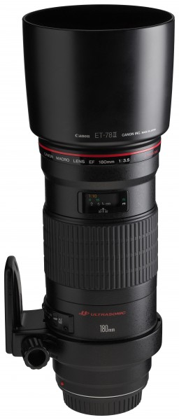 Canon EF 180mm f3.5L Macro USM front angled with tripod ring rotated with hood