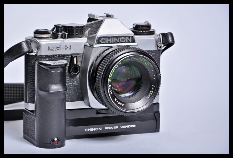 Chinon CM-3 SLR camera with Chinon Power Winder