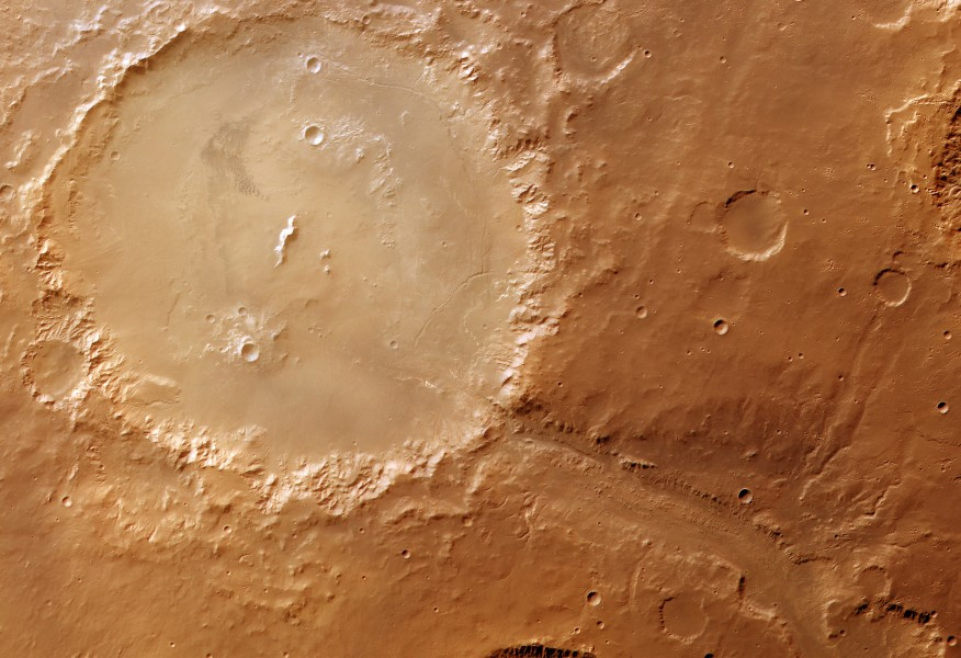 Colour image of Holden and Uzboi Vallis