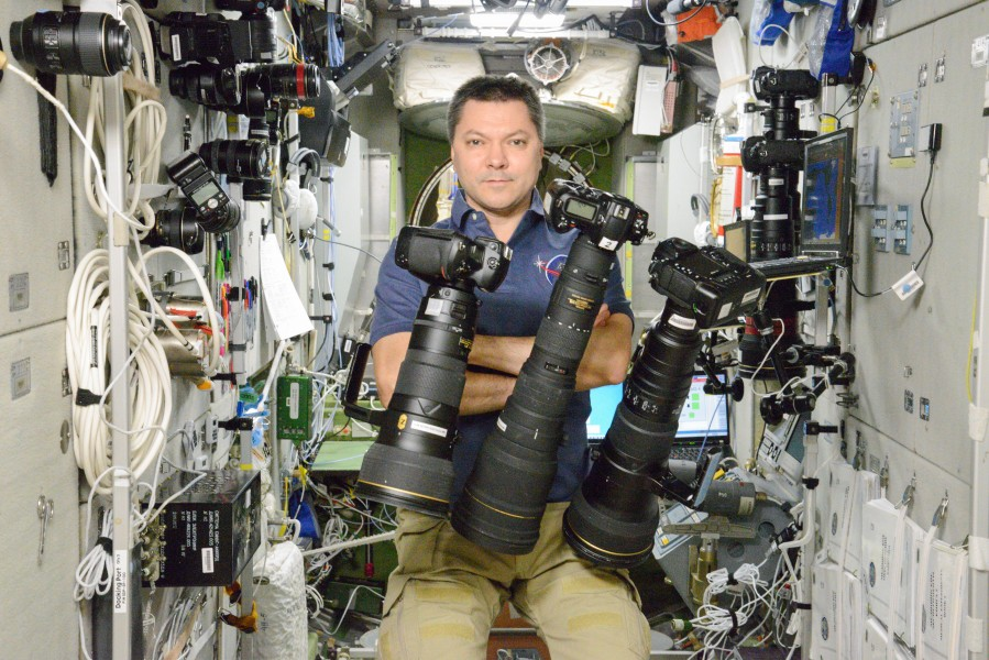ISS-45 Oleg Kononenko with photo equipment in the Zvezda Service Module