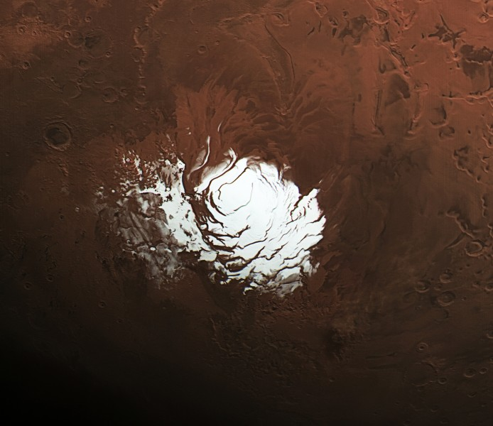 Martian south pole during summer by HRSC