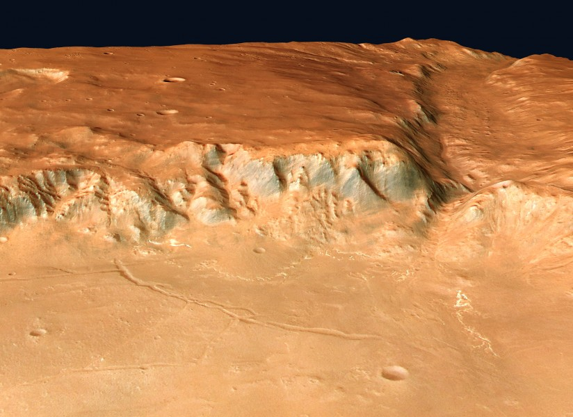 Perspective view of Holden and Uzboi Vallis looking south