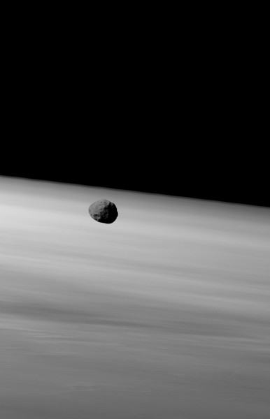 Phobos over Mars' limb by HRSC