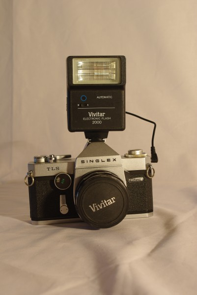 Ricoh Singlex TLS with Vivitar electronic flash