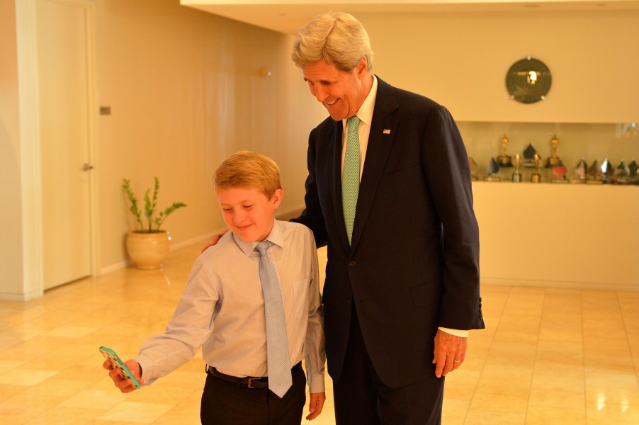 Secretary Kerry Takes a Selfie With Shark Finbassador Sean Lesniak After the 11-Year-Old Interviewed Him About Ocean Conversation at Discovery's Headquarters in Maryland (27399161415)
