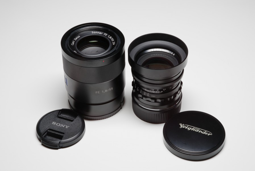 Sony Zeiss Sonnar 55mm f1,8 lens and Cosina Voigtlaender 50mm f1,5 Nokton