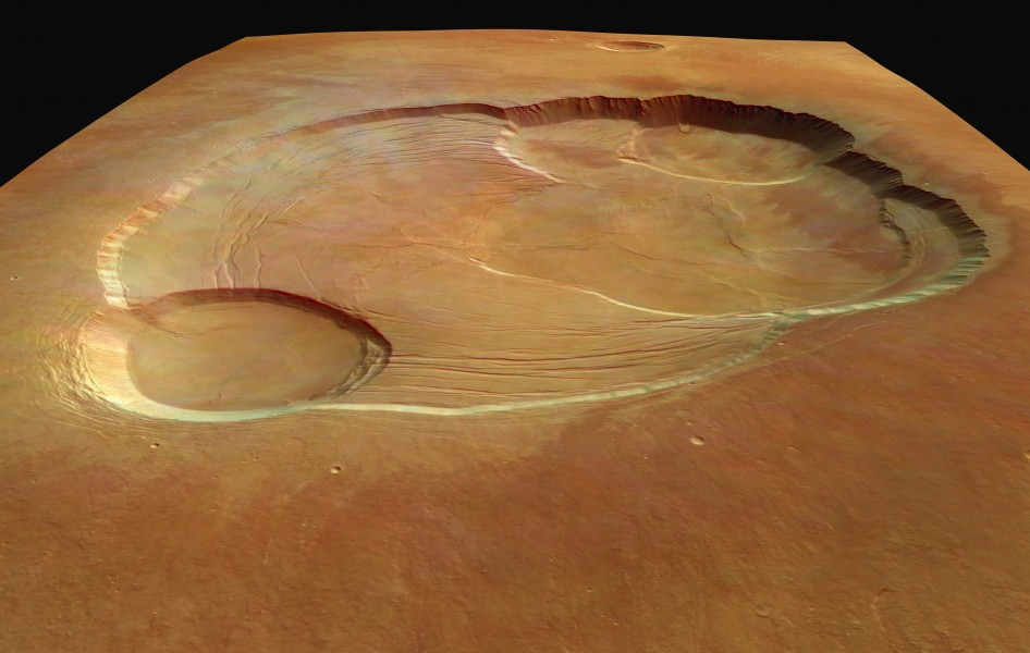 The complex caldera of Olympus Mons on Mars