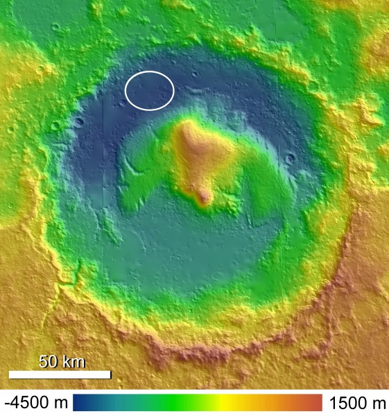 Topographic Map of Gale Crater