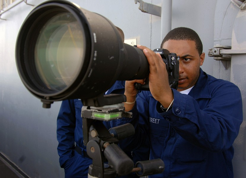 US Navy 071210-N-8923M-048 Mass Communication Specialist Seaman Daron Street takes a photo from Vulture's Row