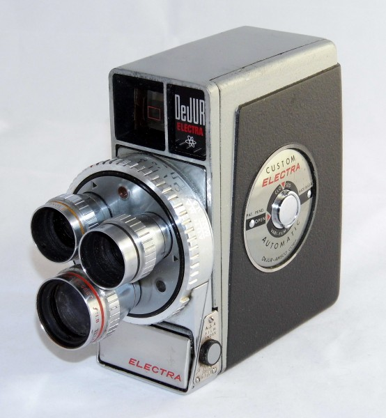 Vintage DeJUR Electra 8mm Movie Camera, Fully Automatic With Three Lens Turret System For Normal, Wide Angle & Telephoto Shots, Electric Eye With Protective Lid, Circa 1958 (17685514914)