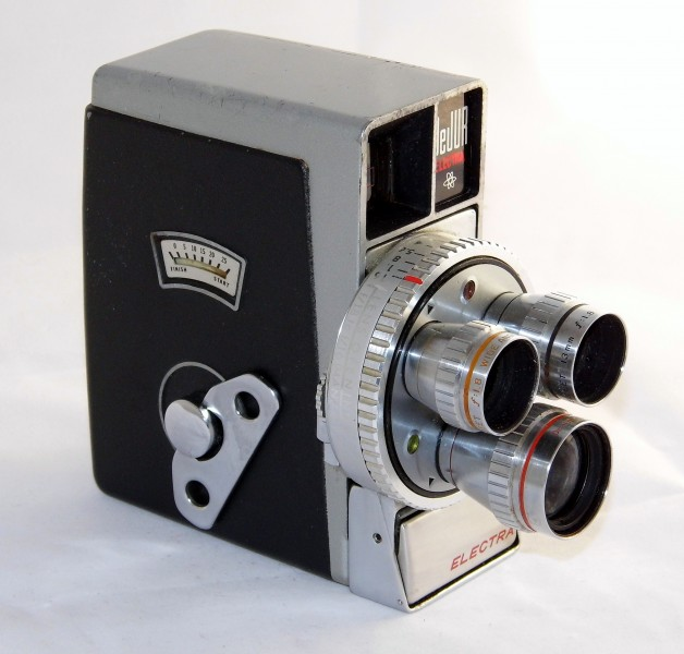 Vintage DeJUR Electra 8mm Movie Camera, Fully Automatic With Three Lens Turret System For Normal, Wide Angle & Telephoto Shots, Electric Eye With Protective Lid, Circa 1958 (18281760146)