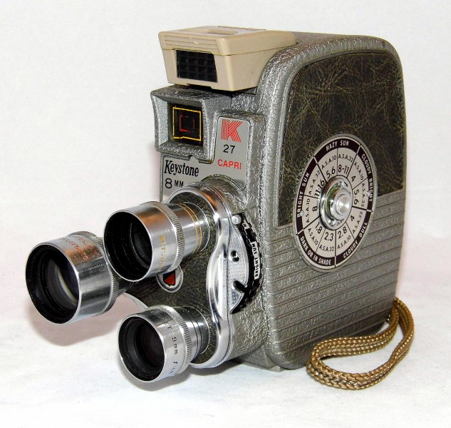 Vintage Keystone Model K-27 Rollfilm Triple Turret 8mm Movie Camera, Made In USA, Circa 1958 (22458492458)
