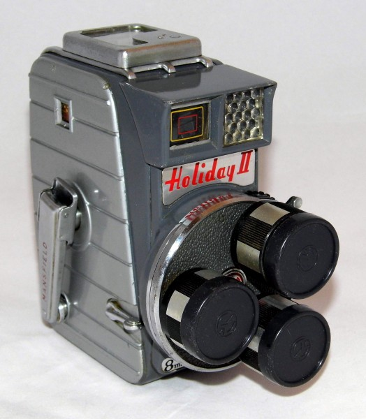 Vintage Mansfield Holiday II 8mm Triple Turret Lens Movie Camera, Normal, Wide Angle And Telephoto Lens, Made In Japan, Circa 1959 (22279887626)