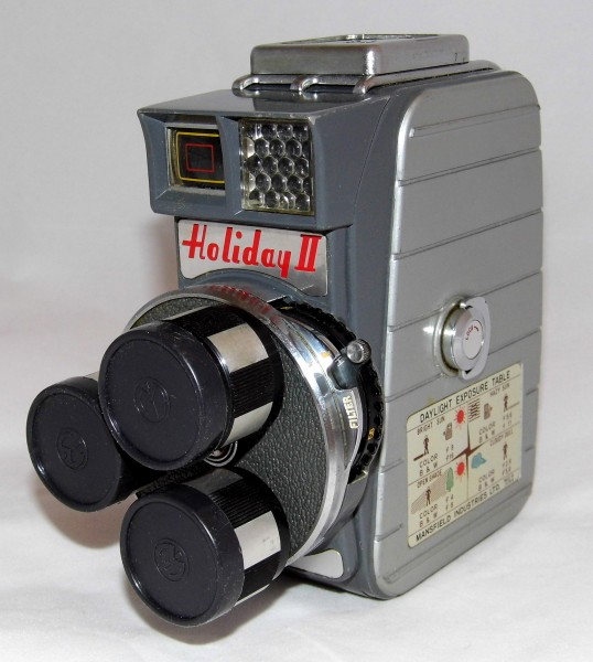 Vintage Mansfield Holiday II 8mm Triple Turret Lens Movie Camera, Normal, Wide Angle And Telephoto Lens, Made In Japan, Circa 1959 (22316345371)