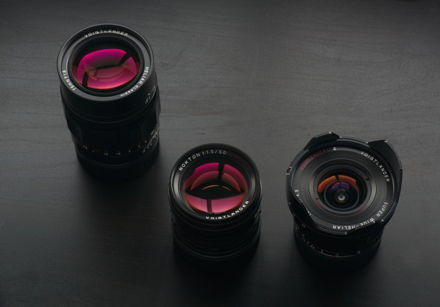 Voigtlander lenses 75mm, 50mm, and 15mm