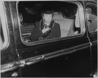 Photograph of Secretary of Labor Frances Perkins in an automobile, apparently at the White House shortly after... - NARA - 199065