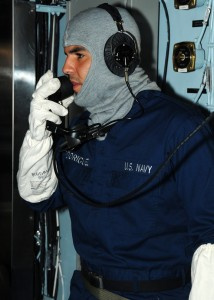 US Navy 100925-N-7908T-045 Operations Specialist Seaman Christopher Rodriquez, assigned to the operations department of the aircraft carrier USS Ge