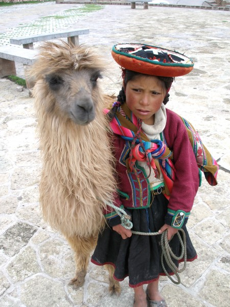 A Quechua girl and her Llama